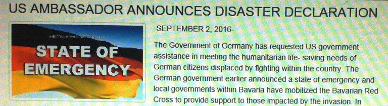 Screenshot einer traingsinternen Website mit einer Nachricht über Ausnahmezustand in Deutschland