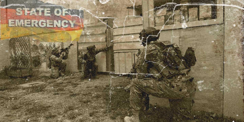 Soldaten trainieren in Hohenfels militärische operationen im urbanen Terrain