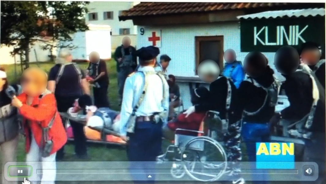 Screenshot eines trainingsinternen Videos aus dem Manöver Combined Resolve VII, das verletzte deutsche Zivilisten darstellt