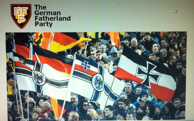 """Screenshot aus dem Trainingsmaterial zu Combined Resolve VII. Darstellung der fiktiven """"Deutschen Vaterlandspartei"""""""