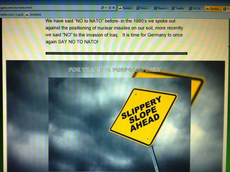 Ausschnitt aus der trainings-internen Homepage zur NATO-kritischen Friedensbewegung, das zum Boykott der NATO aufruft