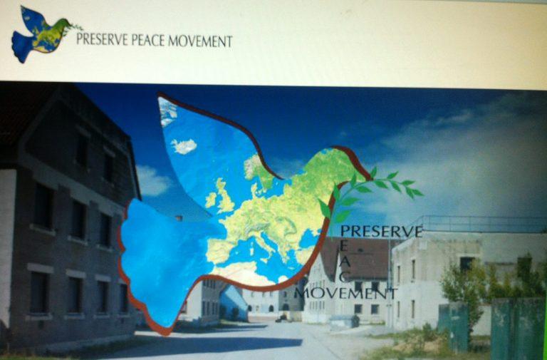 Titelbild einer trainings-internen Homepage des NATO-Manövers Combined Resolve VII, dass eine Friedenstaube der 'Preserve Peace Movement' zeigt