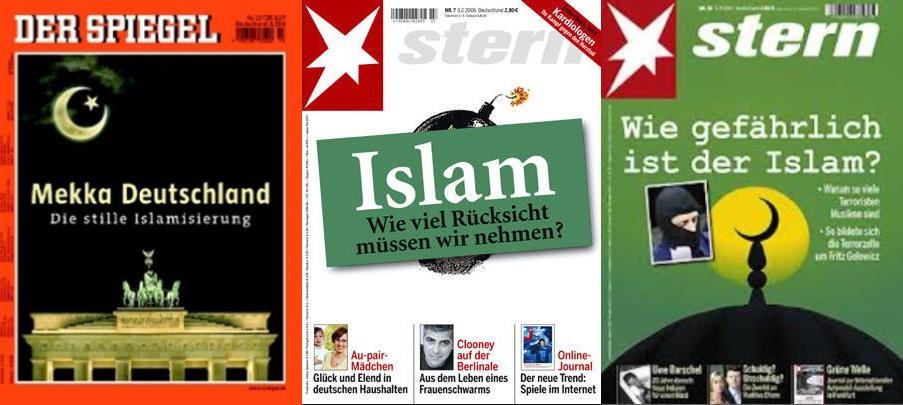 Titelbilder führender deutscher Nachrichtenmagazine mit islamkritischen Covern