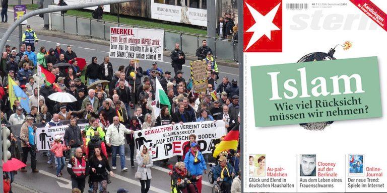 """PEGIDA-Demonstration im linken Bildteil und ein Cover vom Stern-Magazin rechts mit dem Titel """"Islam - Wie viel Rücksicht müssen wir nehmen?"""""""